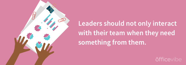 Leaders should not only interact with their team when the need something image