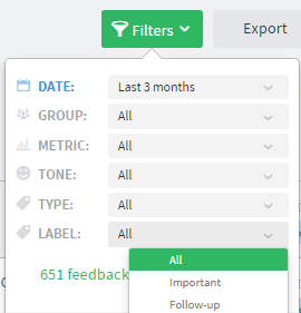 filter labels in officevibe