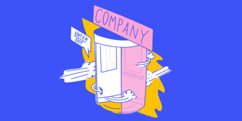 """A Spinning Revolving Door With A Sign Above That Says """"Company"""" Representing Employee Turnover"""