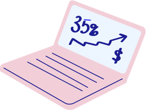 pink computer with a 35% on its screen showing the likelihood of increased revenu by companies in the top quartile for racial and ethnic diversity