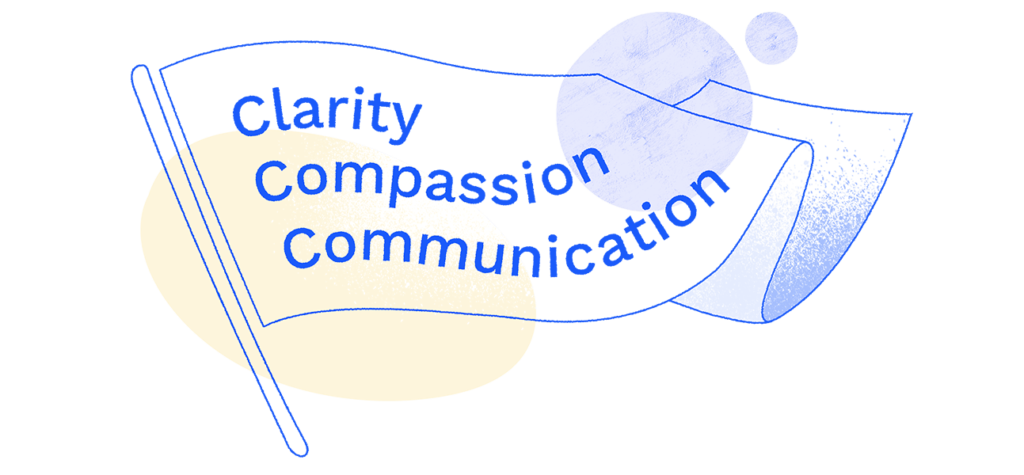 Flag flapping with the words Clarity, Compassion, Communication written on it.
